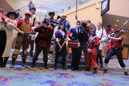 A large Team Fortress cosplay group. [photo by Christen Bejar]