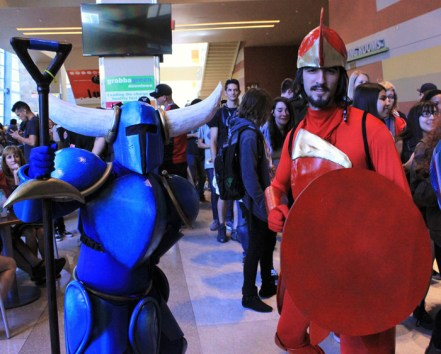 A Shovel Knight and Shield Knight gender swap duo. [photo by Justin Franco]