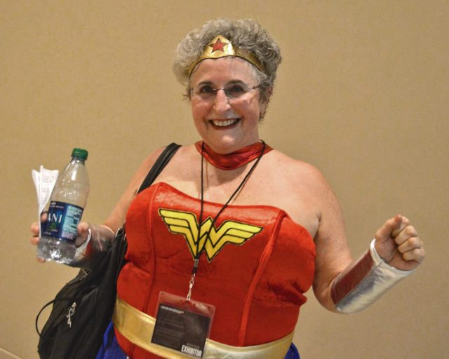 A feisty, young-at-heart Wonder Woman knows to stay hydrated.