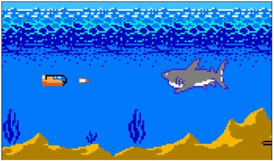 "Caption: Discovery wouldn't let us use footage of Jaws of the Deep, but this screencap of the classic NES game ""Jaws"" is actually pretty close to what's going on."