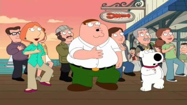 The Spirit of Massachusetts is the Spirit of America! And is that Quint from Jaws behind Peter Griffin?