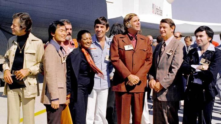 Gene Roddenberry with much of the original Star Trek cast