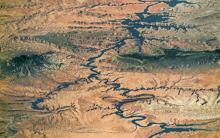 The Colorado River's Lake Powell from the north, taken by the International Space Station. A recent report claiims climate change has played a larger role in declining river flows than earlier thought.