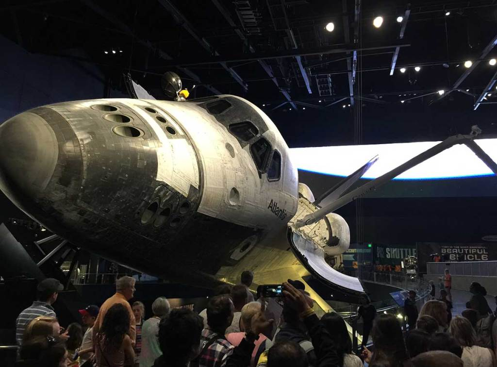 The Space Shuttle Atlantis on display Space shuttle display at Kennedy Space Center.
