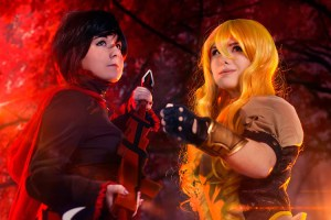 "Catherine Ayotte (right) cosplays under the name ""zeldachann."" She poses with Snow Habit, and they are cosplaying characters from the popular anime ""RWBY."" (Photo by Tarasque Productions, courtesy of Catherine Ayotte)"
