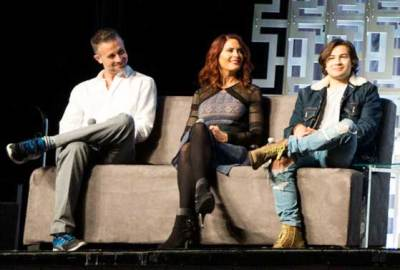 Vanessa Marshall, center,with Freddie Prinze Jr. and Taylor Gray at the Star Wars Rebels panel at Star Wars Celebration Orlando.
