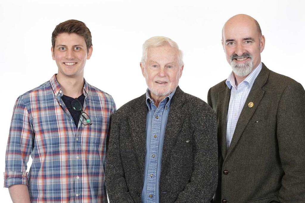 Producer-director Scott Handcock, Sir Derek Jacobi and actor-writer-script editor Nicholas-Briggs (Courtesy Big Finish)