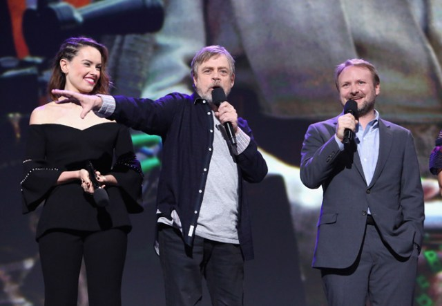 ANAHEIM, CA - JULY 15: (L-R) Actors Daisy Ridley, Mark Hamill and director Rian Johnson of STAR WARS: THE LAST JEDI took part today in the Walt Disney Studios live action presentation at Disney's D23 EXPO 2017 in Anaheim, Calif. STAR WARS: THE LAST JEDI will be released in U.S. theaters on December 15, 2017. (Photo by Jesse Grant/Getty Images for Disney) *** Local Caption *** Daisy Ridley; Mark Hamill; Rian Johnson