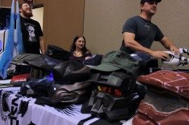 Members of Fireteam Phoenix displayed their Halo cosplay pieces at their table.