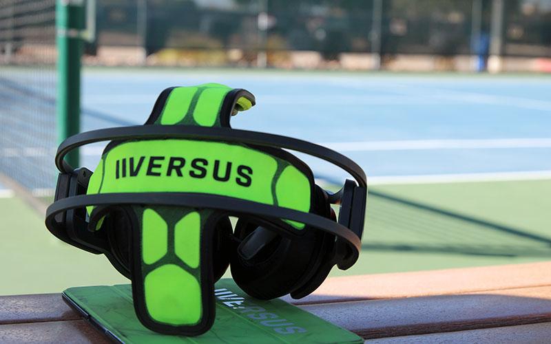 The Versus Headset has neuro senses that gather measurable data regarding one's brain via an app connectibility. (Photo by Nicole Praga/Cronkite News)