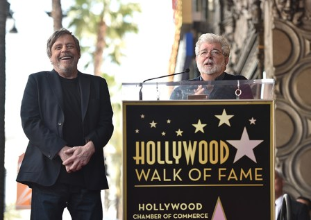 HOLLYWOOD, CA - MARCH 08: Mark Hamill (L) is Honored by George Lucas (R) with Star on the Hollywood Walk of Fame on March 8, 2018 at Hollywood Walk Of Fame in Hollywood, California. (Photo by Alberto E. Rodriguez/Getty Images for Disney) *** Local Caption *** Mark Hamill; George Lucas
