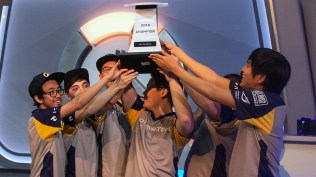 The UC Berkeley team celebrated their championship win in the Overwatch competition. The championship battle against UC Irvine ended in a 3-0 sweep by Berkeley. (Photo by Miles Metke/Cronkite News)