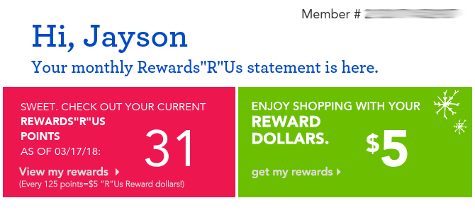 Toys R Us rewards
