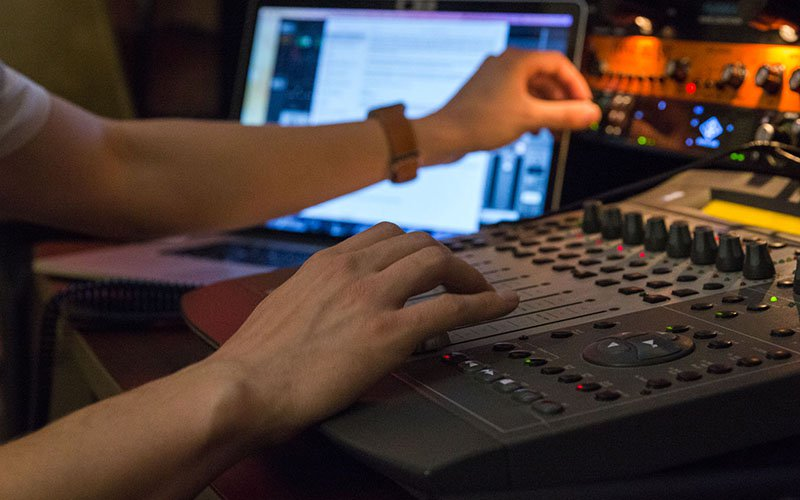 Tantillo records his audio using different professional programs, and mixes using different boards, which, sold new, cost nearly $4000. (Photo by Nicole Gimpl/Cronkite News)