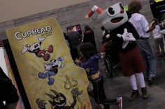 Cuphead with your Cuphead. This cosplayer had to patiently wait their turn to play. Photo by Christen Bejar.