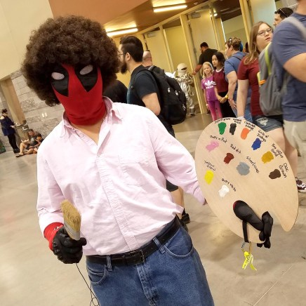 It's Deadpool Bob Ross at Phoenix Comic Fest, Saturday, May 26, 2018, at the Phoenix Convention Center.