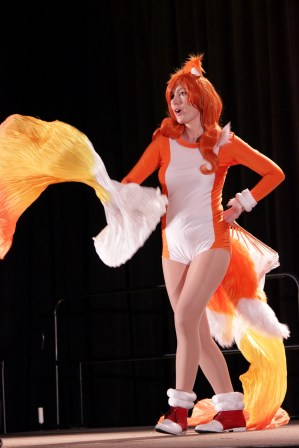 Tails from the Sonic series performed a flurry of moves during the masquerade. Photo by Christen Bejar.