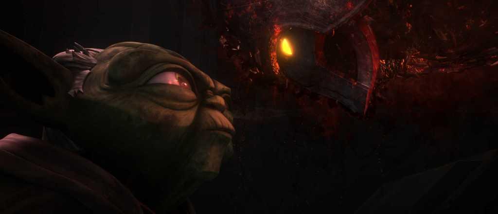 Master Yoda faces a vision of the ancient Sith Lord, Darth Bane.