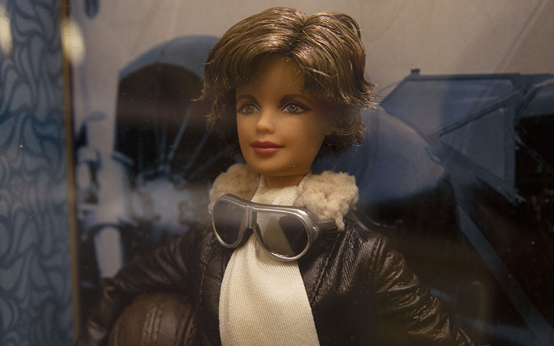 Pilot Amelia Earhart was one of three historical figures included in Mattel's Inspring Women line. The company says it plans to expand the collection. (Photo by Vivian Meza/Cronkite News).