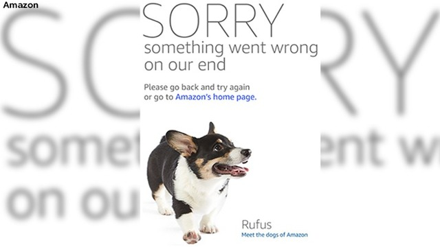 Amazon comforts customers with sweet images of dogs on their error pages.
