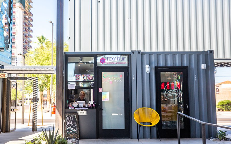 The walk-up window at Foxy Fruit is meant to entice customers along a revamped First Street in downtown Phoenix. The city is trying to make the area more pedestrian friendly, with  wider sidewalks, benches and shade trees. (Photo by Anya Magnuson/Cronkite News)