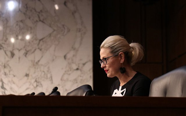 Sen. Kyrsten Sinema, D-Arizona, said in a Senate Commerce, Science and Transportation Committee hearing on robocalls in April that her office gets numerous complaints about such calls. (Photo by Keerthi Vedantam/Cronkite News)