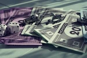 monopoly money dice game pieces
