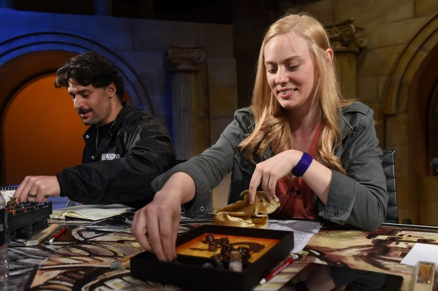 """Joe Manganiello, left, and Deborah Ann Woll help unveil the Dungeons & Dragons storyline, """"Waterdeep: Dragon Heist"""" during a live streaming event at the Line 204 Studios on Friday, June 1, 2018, in Los Angeles. (Jordan Strauss/AP Images for Dungeons & Dragons)"""