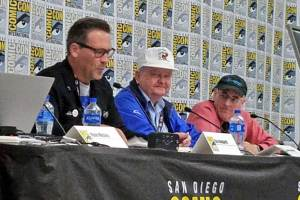 """""""They Came for the Moon: 50 Years of Apollo 11 from Those That Built It"""" panel at San Diego Comic-Con 2019 - (L-R) Ray Hedgpeth (Columbia Space Center), Lovell Stoddard (Apollo 11 engineer), Mat Kaplan (Planetary Radio.)"""