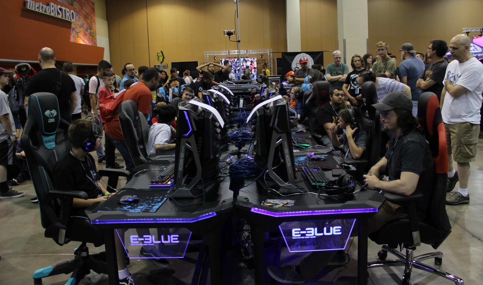 Up for a match? Attendees played Fortnite on special setups. Photo by Justin Franco.