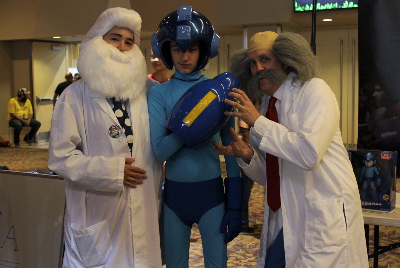 The gang's all here: Dr. Wiley, Dr. Light and MegaMan cosplayers. Photo by Justin Franco.