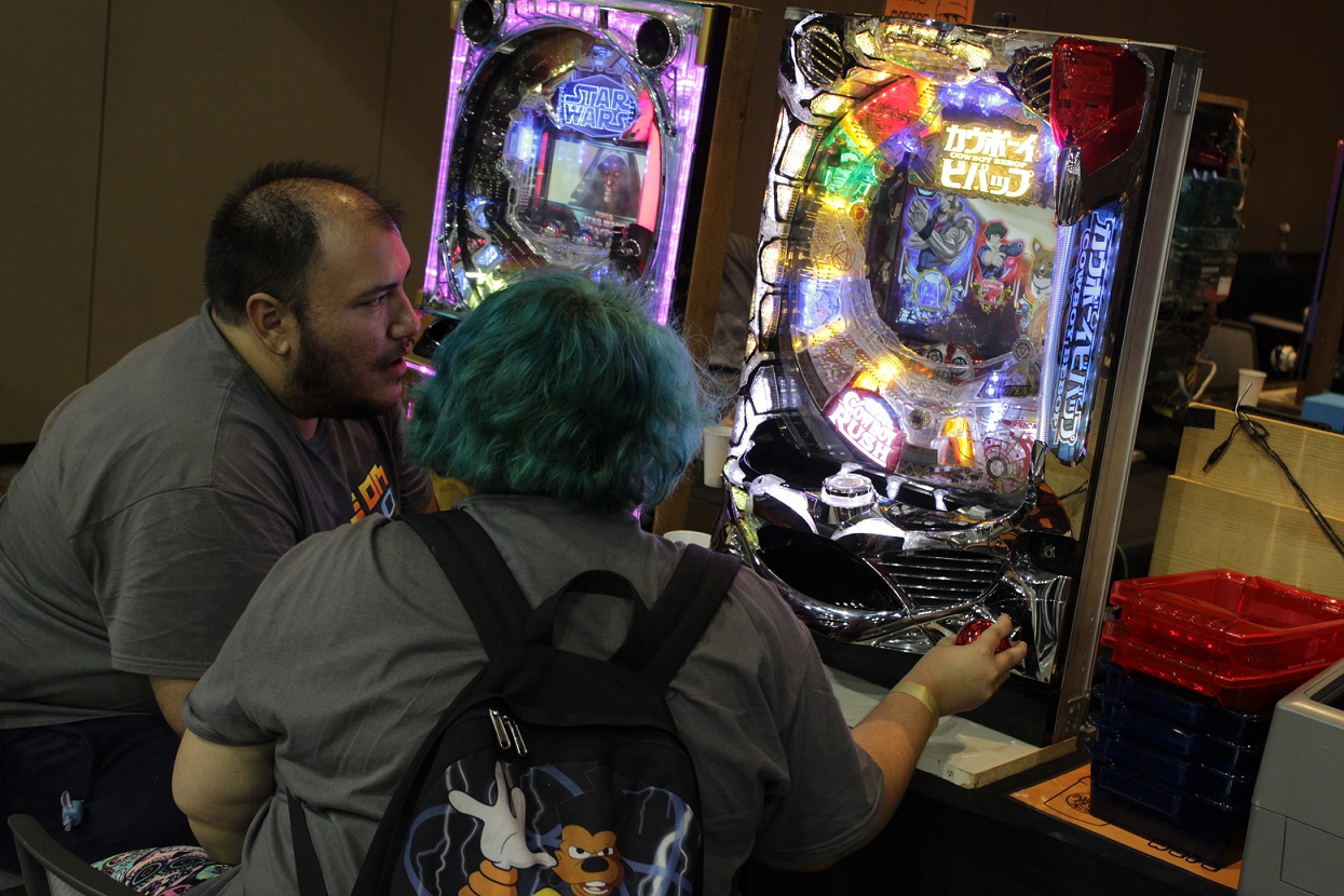 Endless variety! Even pachinko machines were available to play on at the convention. Photo by Justin Franco.