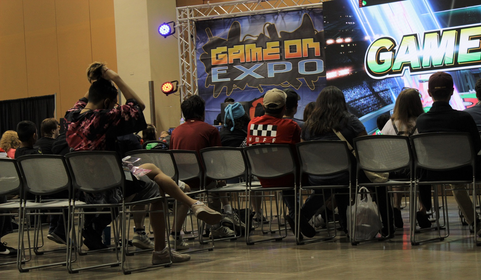 The larger tournament viewing area proved a good spot to take a short rest and watch some play at hand. Photo by Justin Franco.