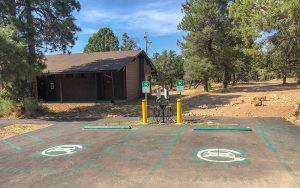 Visitors to Grand Canyon National Park can now charge their electric vehicles at six stations around the park, including Yavapai Lodge, Canyon Village Market and these two at Maswik North. (Photo by Michael Quinn/ NPS)