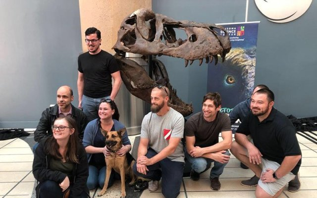 Spectators gather around the massive skull of Victoria, the largest traveling T. rex skeleton in the world, at its world debut this month at Phoenix City Hall. (Photo by Sabine Galvis/Cronkite News)