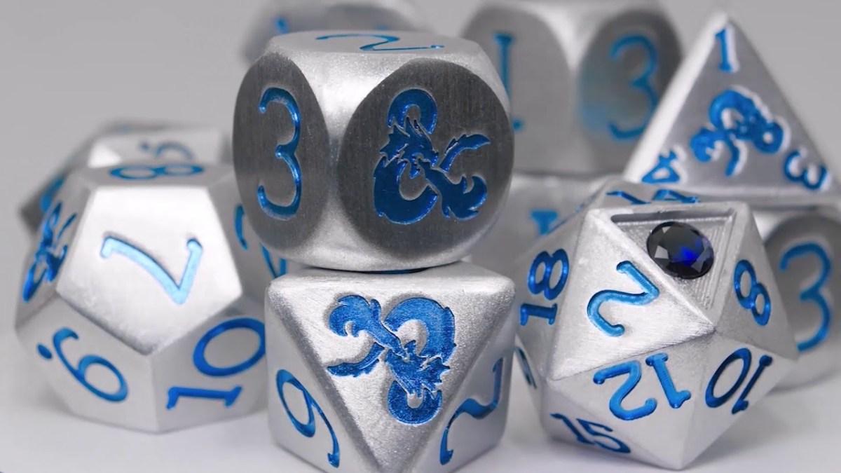 $300 aluminum sapphire dice mark D&D's 45th anniversary, 5th Edition's 5th year