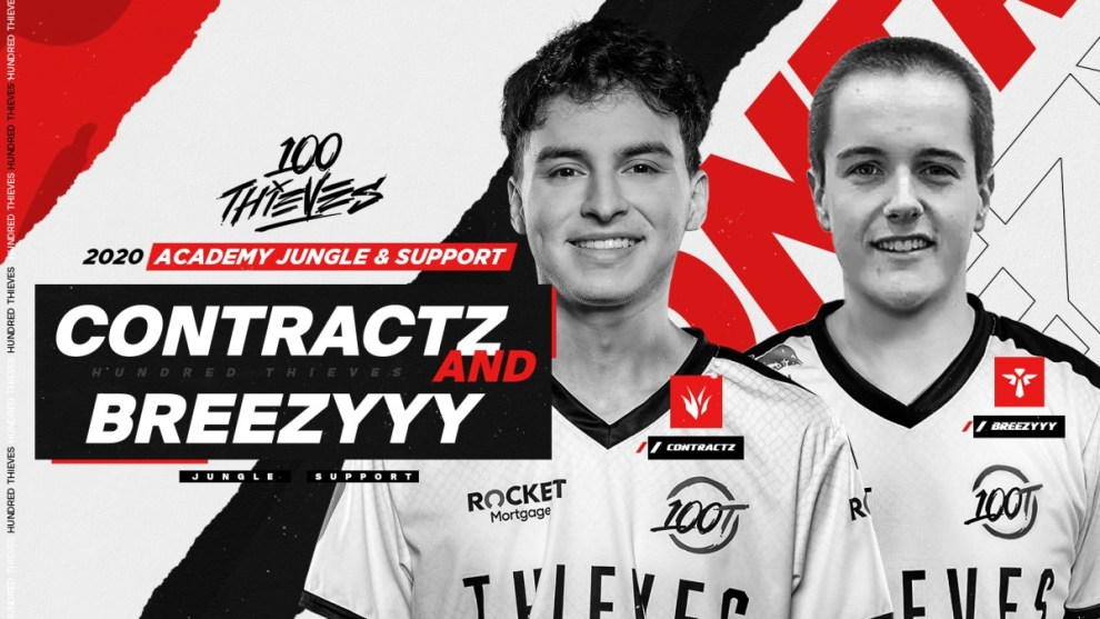 "Brindon ""Breezyyy"" Keesey (right), an Arizona State student, joins Juan ""Contractz"" Arturo Garcia as part of the 100 Thieves' Academy team. Keesey is only the second ASU player to go pro in any esport. (Photo courtesy 100 Thieves)"