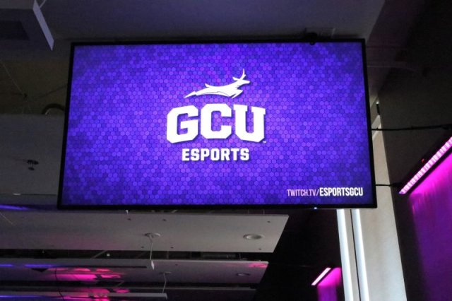 Grand Canyon University has a state-of-the-art esports arena with screens that allows others to view the action from around the facility. (Photo by Reno Del Toro/Cronkite News)
