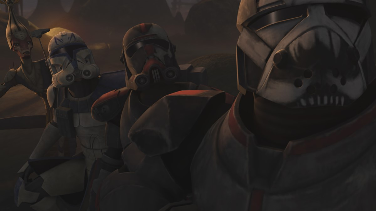 The clones help defend native people against a droid attack in STAR WARS: THE CLONE WARS, exclusively on Disney+.