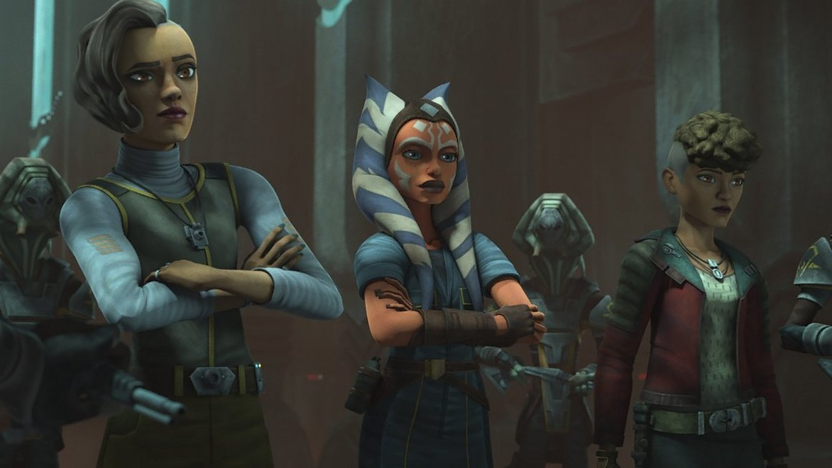 Rafa, Ahsoka and Trace are questioned by the Pykes in STAR WARS: THE CLONE WARS, exclusively on Disney+.