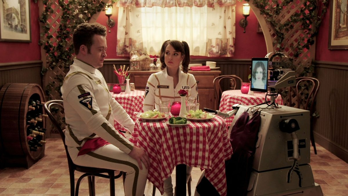Neil Casey and Milana Vayntrub in Other Space.