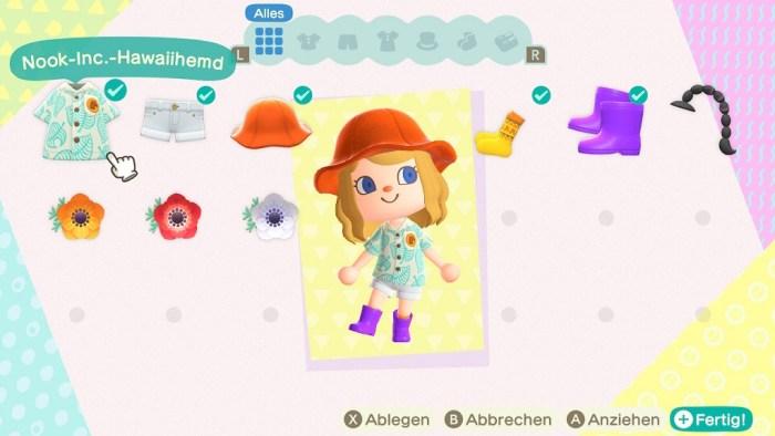 Animal Crossing New Horizons Klamotten Charakter Individualisierung nerdyhasche
