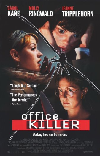 The poster shows an outline of broken glass which splits up pictures of molly ringwald, carol kane and  Jeanne Tripplehorn