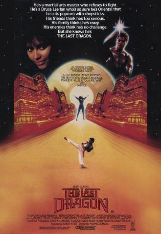 The poster for the last dragon, the character leeroy is in the foreground while a cityscape looms in the background