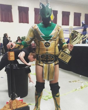 Thunderfrog poses with his mighty hammer and his newly won Young Lions Cup