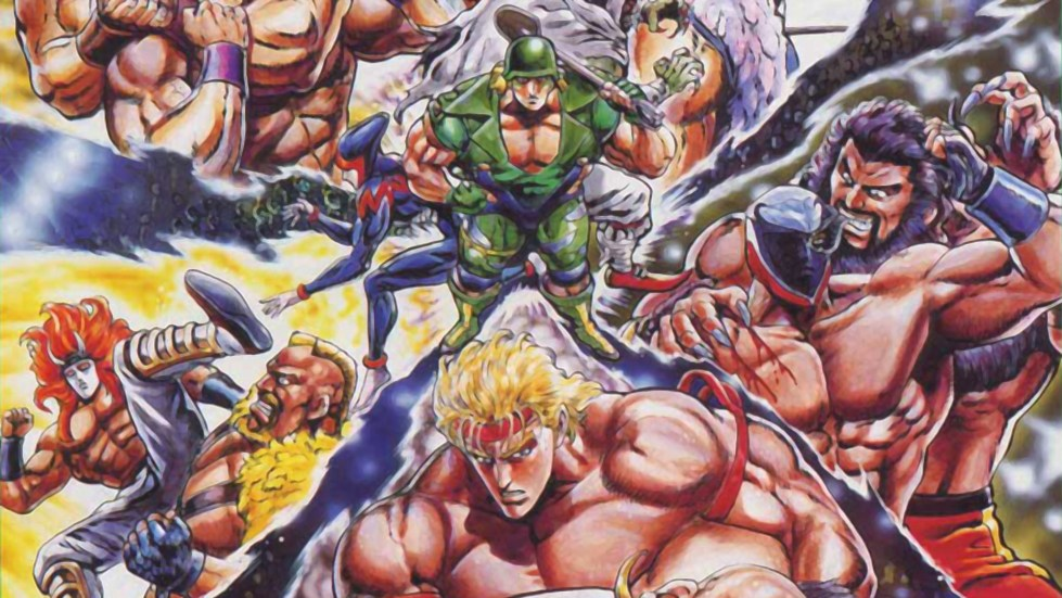Promotional artwork for Saturday Night Slam Masters showing the roster battling each other