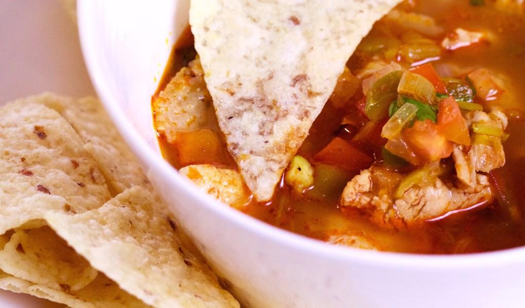 a bowl of gluten free tortilla soup