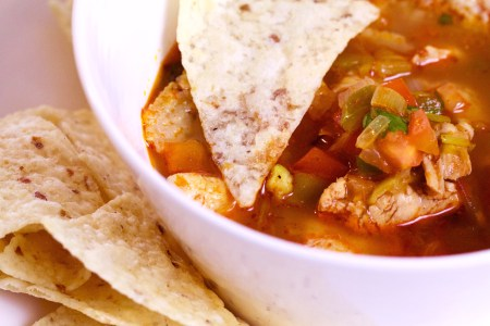 a bowl of gluten free tortilla soup