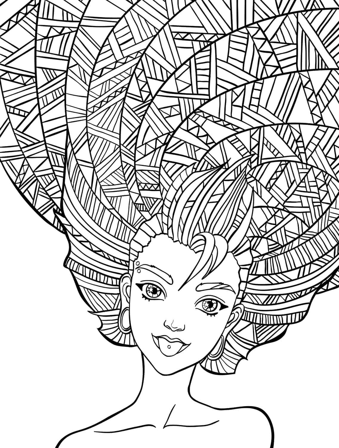 10 Crazy Hair Adult Coloring Pages Page 9 Of 12 Nerdy