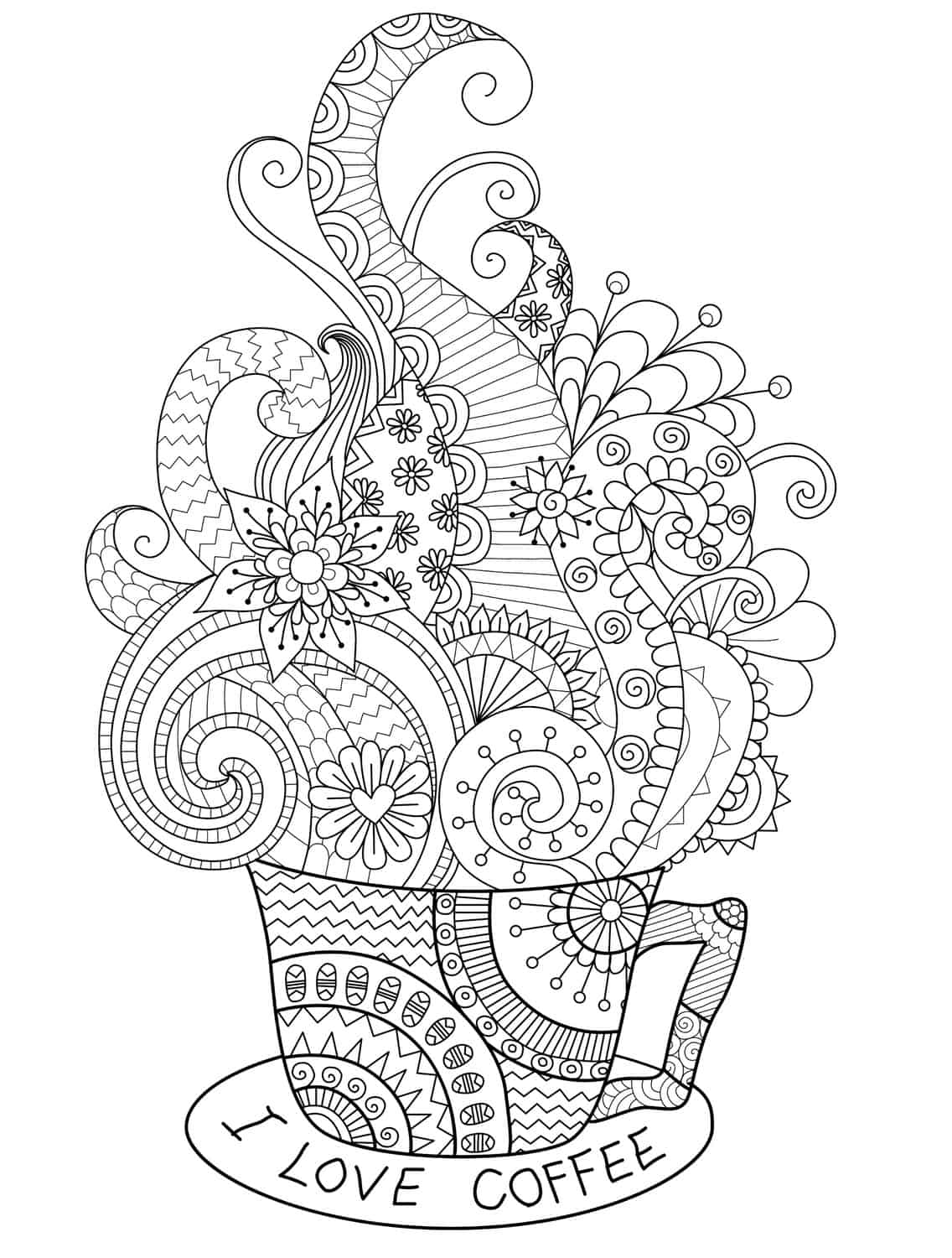 cake coloring pages for adults - coffee cake free coloring pages